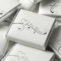 Contemporary Heart Chocolate Squares - White & Silver (50)